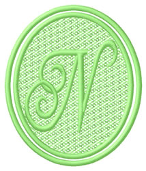 Oval Letter N embroidery design