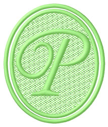 Oval Letter P embroidery design