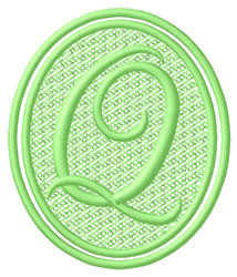 Oval Letter Q embroidery design