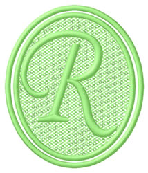 Oval Letter R embroidery design