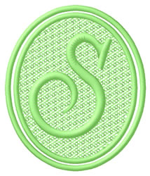 Oval Letter S embroidery design