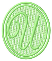 Oval Letter U embroidery design