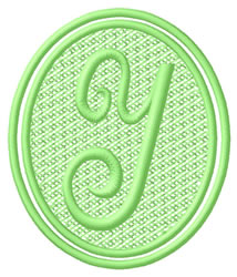 Oval Letter Y embroidery design