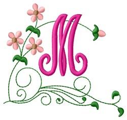 Floral Monogram M embroidery design