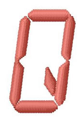 LCD Font Q embroidery design