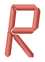 LCD Font R embroidery design