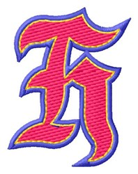 Baseball Font H embroidery design