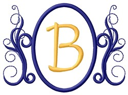 Oval Swirl Monogram B embroidery design
