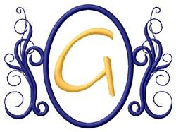 Oval Swirl Monogram G embroidery design