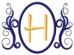 Oval Swirl Monogram H embroidery design