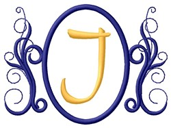 Oval Swirl Monogram J embroidery design