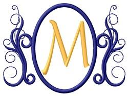 Oval Swirl Monogram M embroidery design