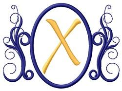 Oval Swirl Monogram X embroidery design