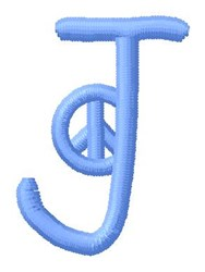Blue Peace J embroidery design