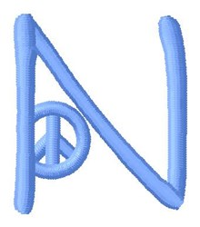 Blue Peace N embroidery design