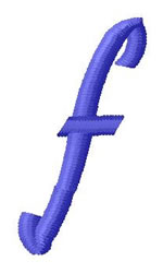 Ribbon Lower Case f embroidery design