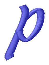 Ribbon Lower Case p embroidery design
