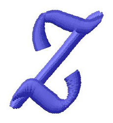 Ribbon Lower Case z embroidery design