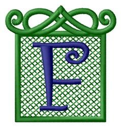 Embossed Square Monogram F embroidery design