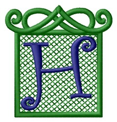 Embossed Square H embroidery design