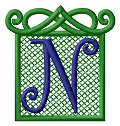 Embossed Square N embroidery design
