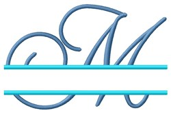 Split Script M embroidery design