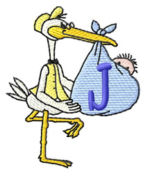 Stork with Baby J embroidery design