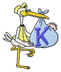 Stork with Baby K embroidery design