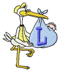 Stork with Baby L embroidery design