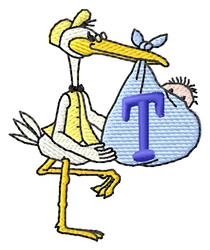 Stork with Baby T embroidery design