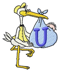 Stork with Baby U embroidery design