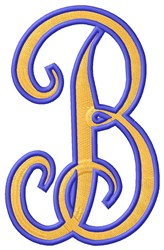 Tall Script 2 B embroidery design