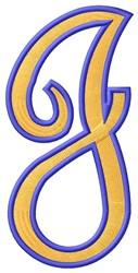 Tall Script 2 J embroidery design
