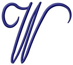 Tall Script W embroidery design