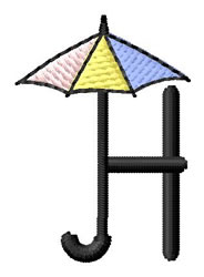Umbrella Font H embroidery design