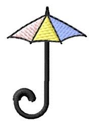 Umbrella Font J embroidery design