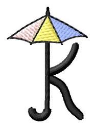 Umbrella Font K embroidery design