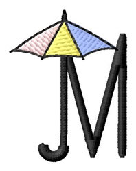 Umbrella Font M embroidery design