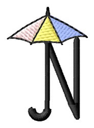 Umbrella Font N embroidery design