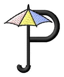 Umbrella Font P embroidery design
