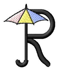 Umbrella Font R embroidery design