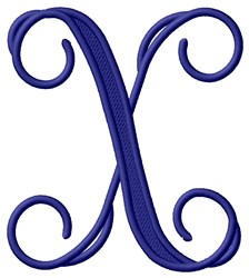 Vining Monogram X embroidery design