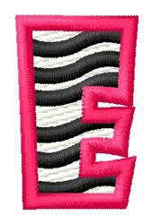 Zebra E embroidery design