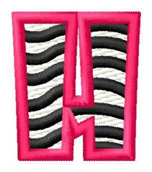 Zebra H embroidery design