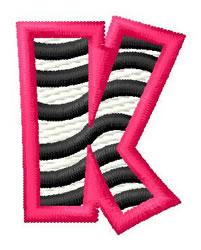Zebra K embroidery design