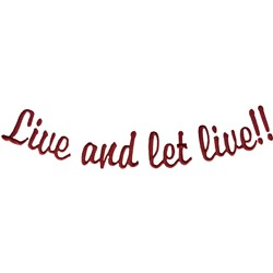 Let Live embroidery design