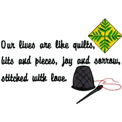 Lives Are Quilts embroidery design