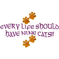 Nine Cats embroidery design