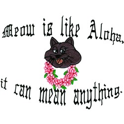 Meow...Aloha embroidery design