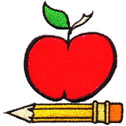Apple and Pencil embroidery design